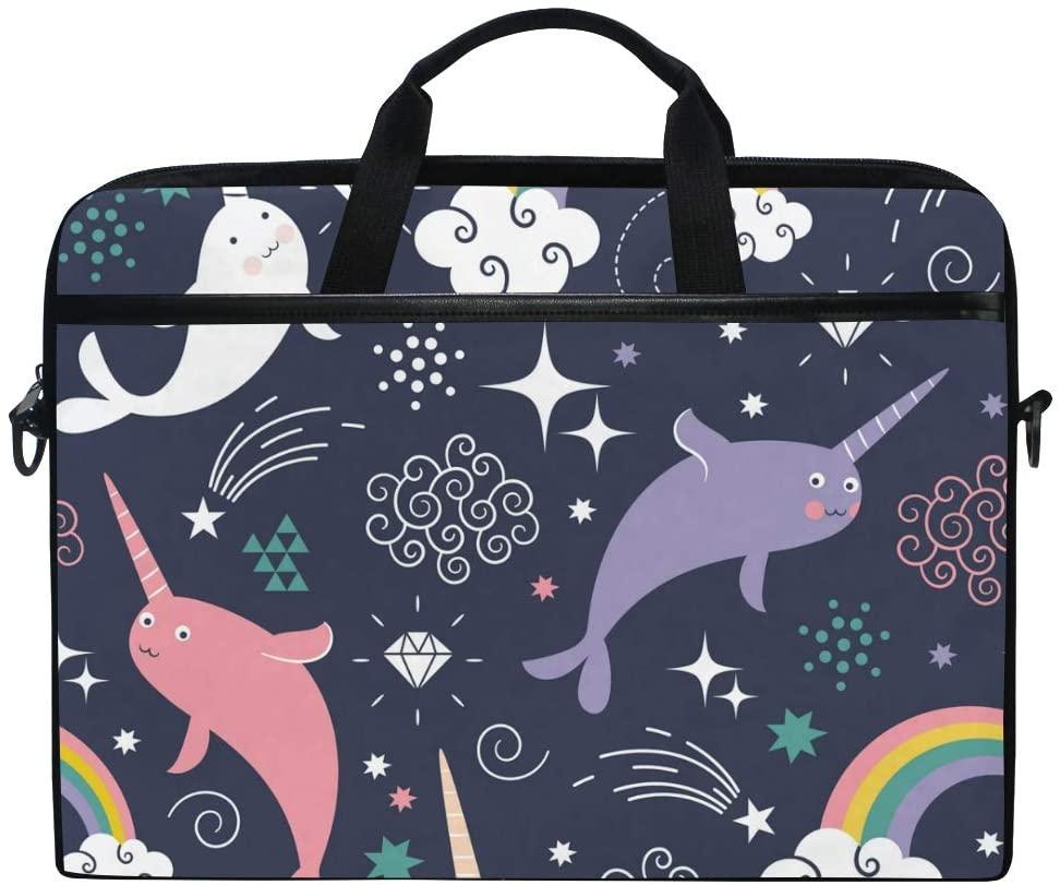 Linomo Computer Bag Cute Whale Narwhal Laptop Sleeve Case Briefcase Messenger Sleeve Laptop Shoulder Bag fits 13 Inch 14 Inch 14.5 Inch Laptop for Women Men Office Kids School