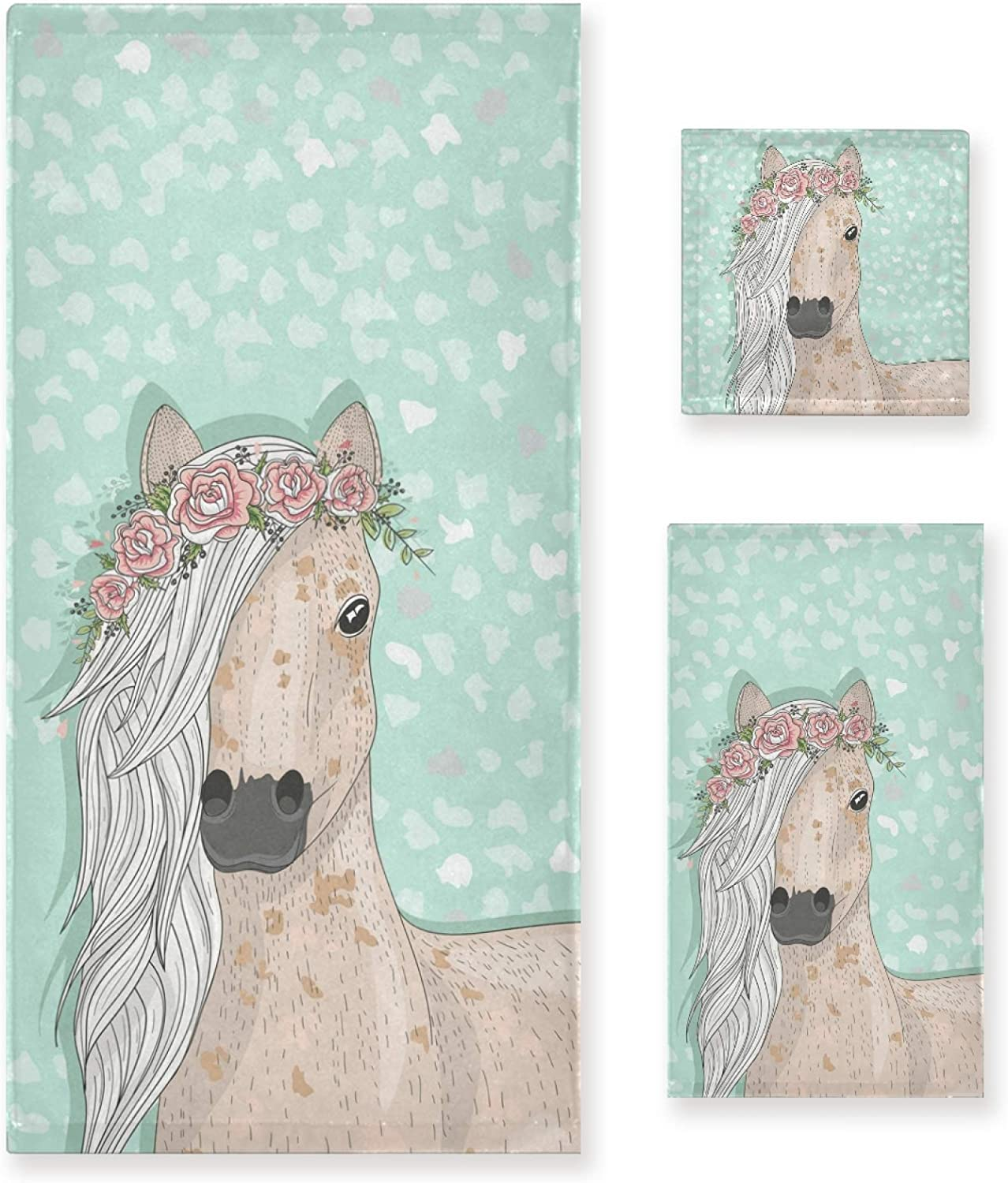 ALAZA Towel Bathroom Sets Chic Horse with Florals Towel Set of 3 Soft Highly Absorbent Towels 1 Bath Towel 1 Hand Towel 1 Washcloth for Kitchen Beach Gym Spa Decorative