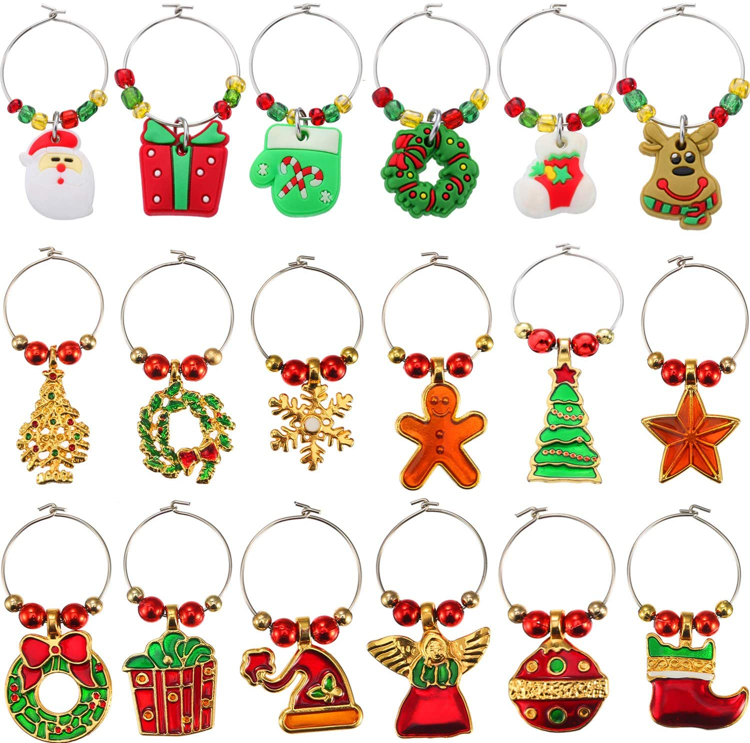 Boao 18 Pieces Wine Glass Charms Christmas Themed Wine Glass Marks Drink Tags Wine Glass Tags for Party Favors and Family Gathering