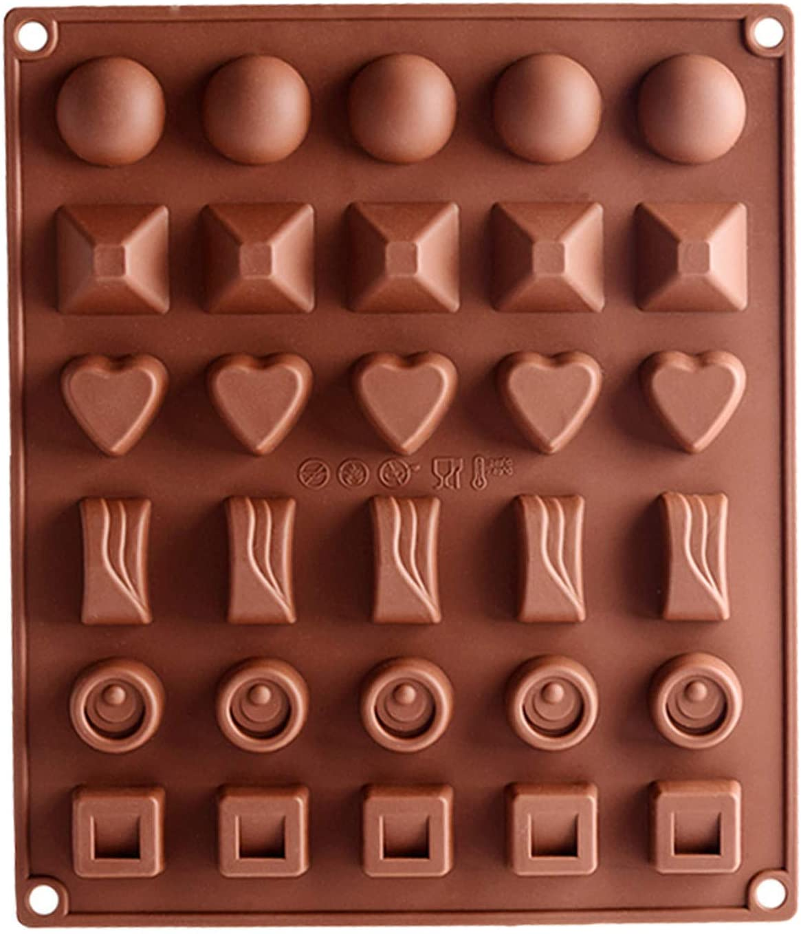 30 Holes Chocolate Molds Gummy Molds Silicone - Candy Mold and Silicone Ice Cube Tray Nonstick Including Hearts, Stars