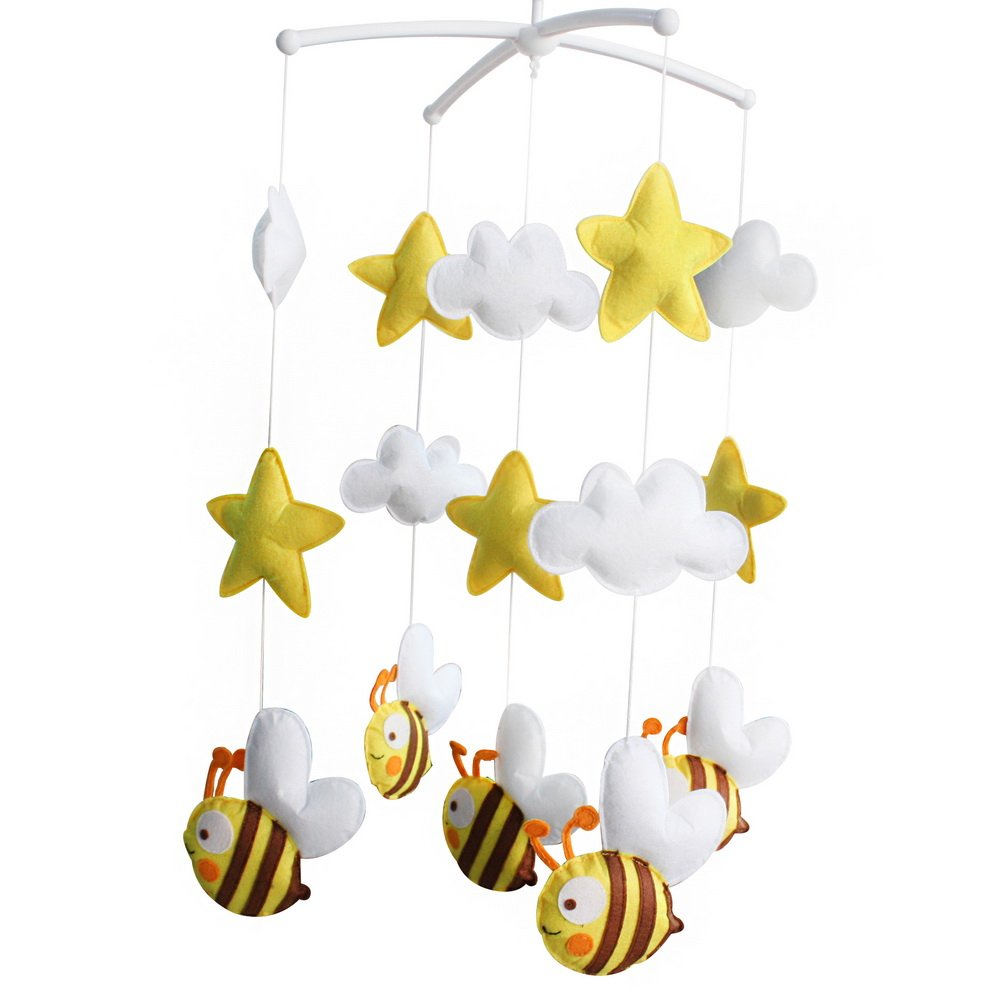 Healthy Nonwovens Infant Musical Toy Crib Mobile Bell, Cartoon Bee Type