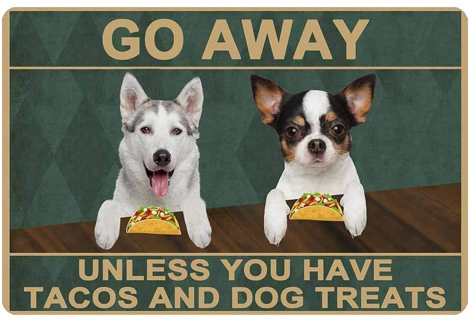 Custom Camper Doormat, Dog Photo Go Away Unless You Have Tacos and Dog Treats Personalized Welcome Mat Door Mat Rubber Non-Slip Entrance Rug 24