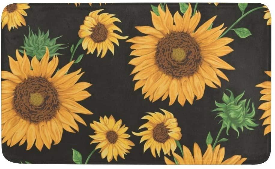 CUXWEOT Indoor Outdoor Doormat Non-Slip Backing Ultra Absorbent Mud Sunflowers Pattern Door Mat Home Office Decorative Entry Rug Garden Kitchen Mats 23.6 x15.7 Inch