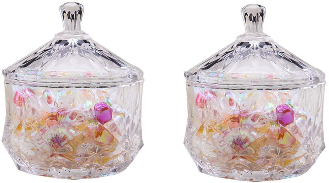 2 Pcs Glass Candy Jar with Lid Decorative Candy Bowl Crystal Covered Storage Jar