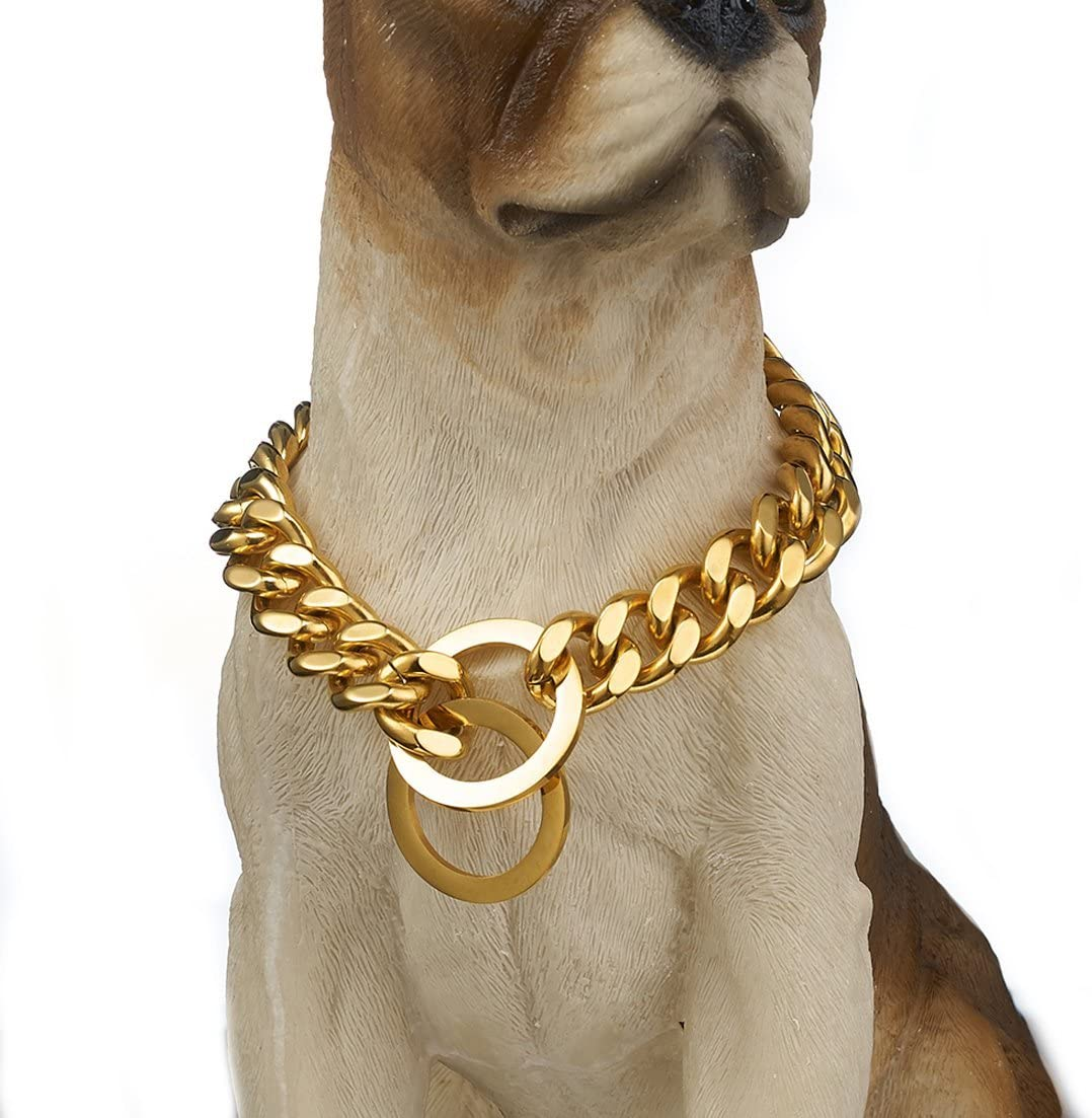 Granny Chic Strong Gold Tone 12/15mm Dog Collar Stainless Steel Pet Curb Chain Necklace