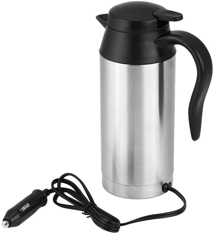 12V Car Electric Heating Cup, Stainless Steel Vacuum Car Heating Mug, Heated Travel Cup Electric Kettle 750ml