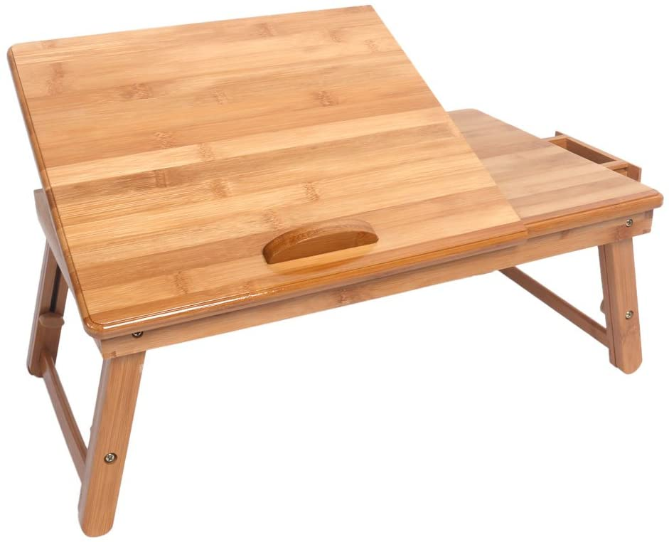 Multi Function Bamboo Laptop Table Bed Tray Foldable Adjustable Table (Wood Color)