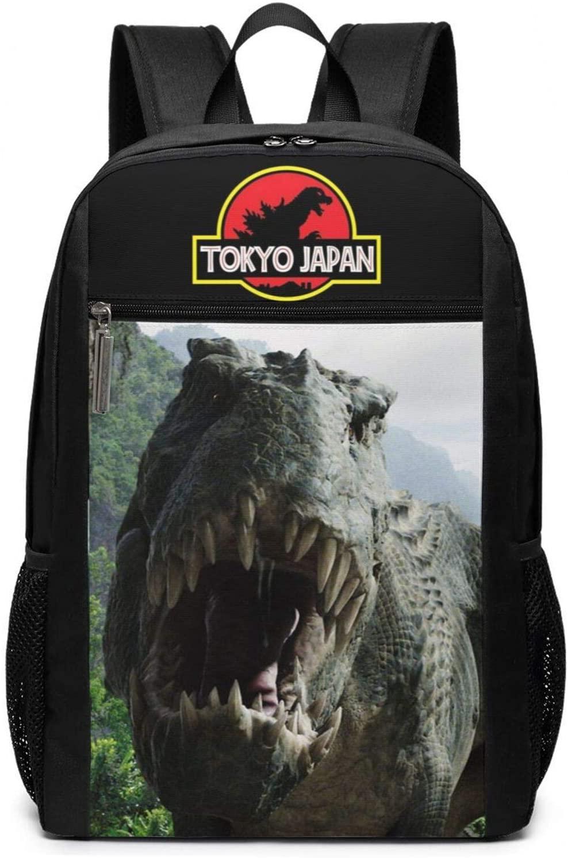 Casual Travel Backpack, Dinosaur Durable Laptops Backpack Water Resistant College Black School Computer Bag Best Gifts for Men & Women