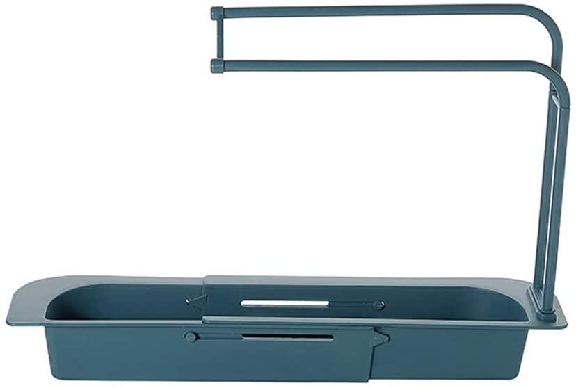 Telescopic Sponge Holder Dish Cloth Drain Shelf Sink Storage Rack Kitchen Sink Hanging Shelf Soap Box Organizer Sink Tray Drainer (Blue)