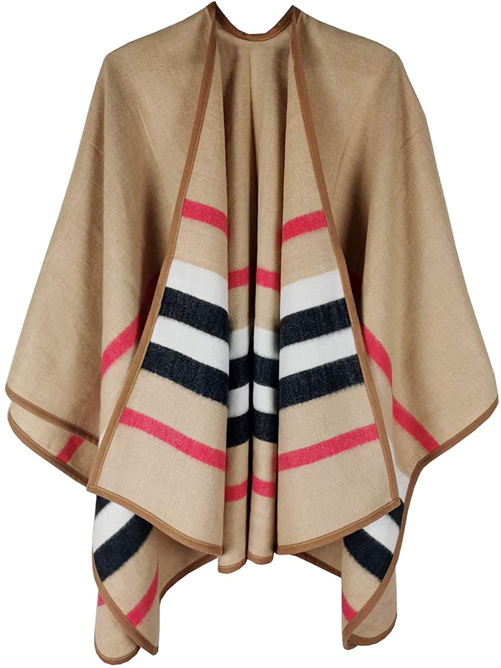 Hideya Women's Shawl Wrap Poncho Ruana Cape Cardigan Sweater Open Front Fall Winter (ca1), Medium