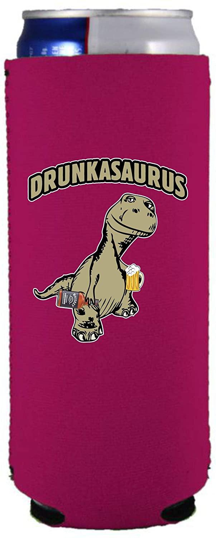 Drunkasaurus Slim 12 oz Can Coolie (Magenta, 1)