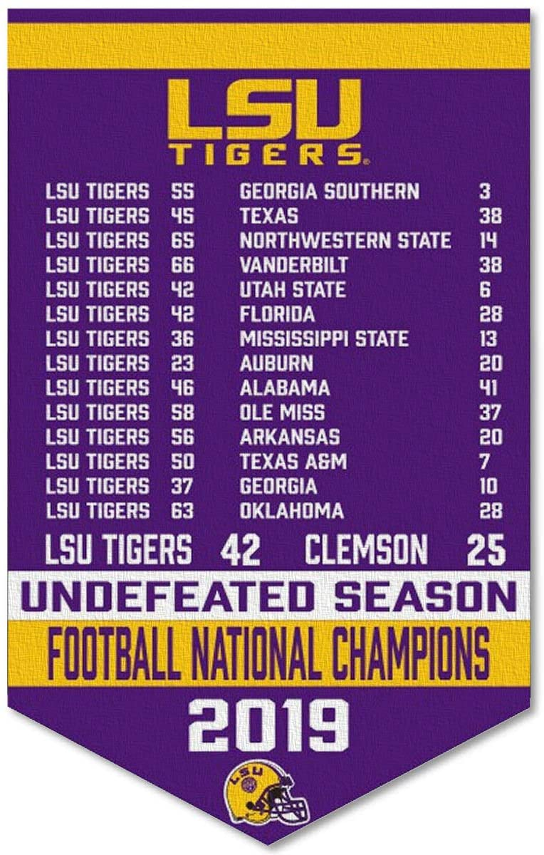 College Flags & Banners Co. Louisiana State LSU Tigers 2019 Undefeated Football Season Banner