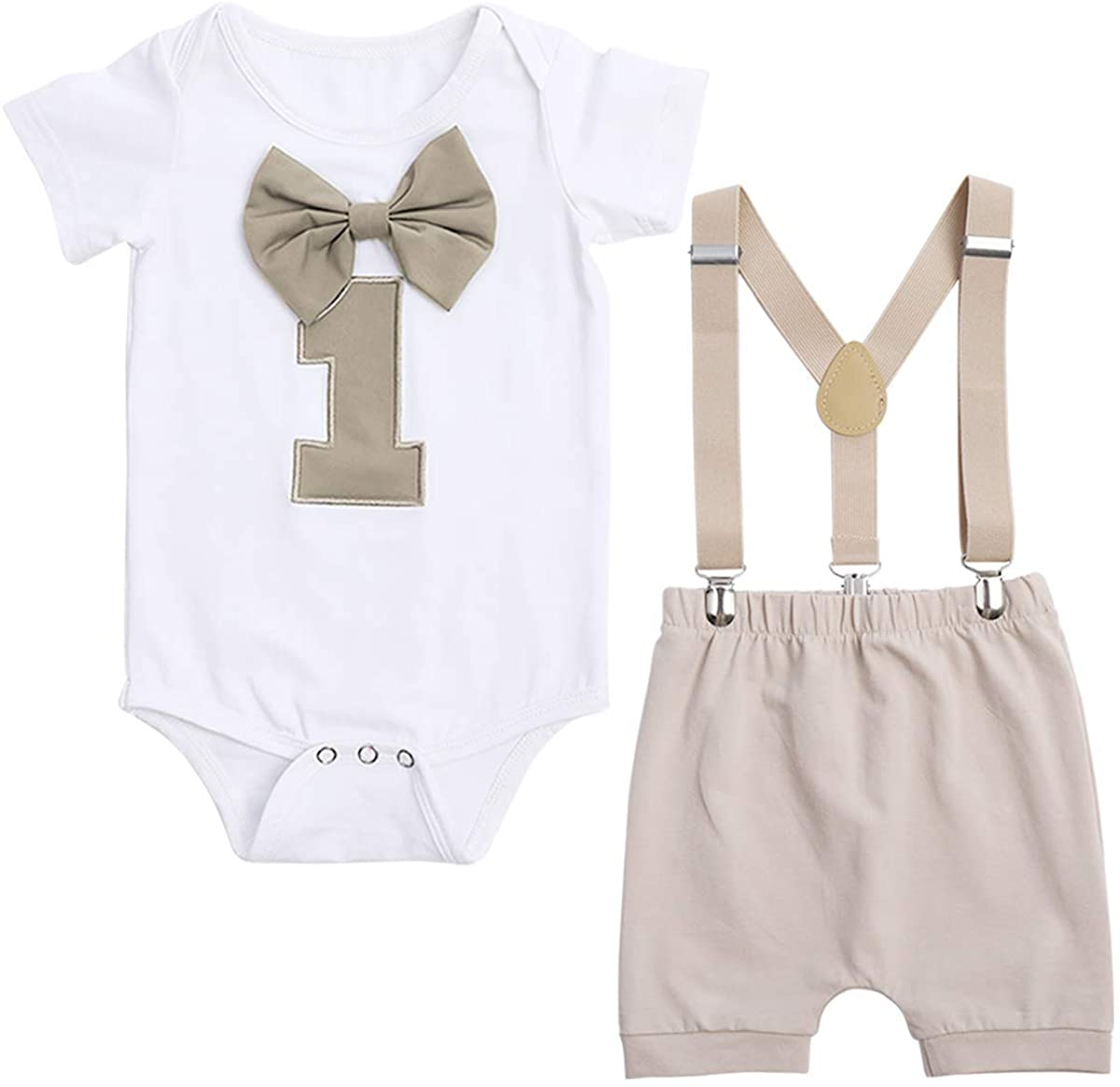 Baby Boy Birthday Outfits for 1 Year Old Infant Toddler Shorts Clothing Set