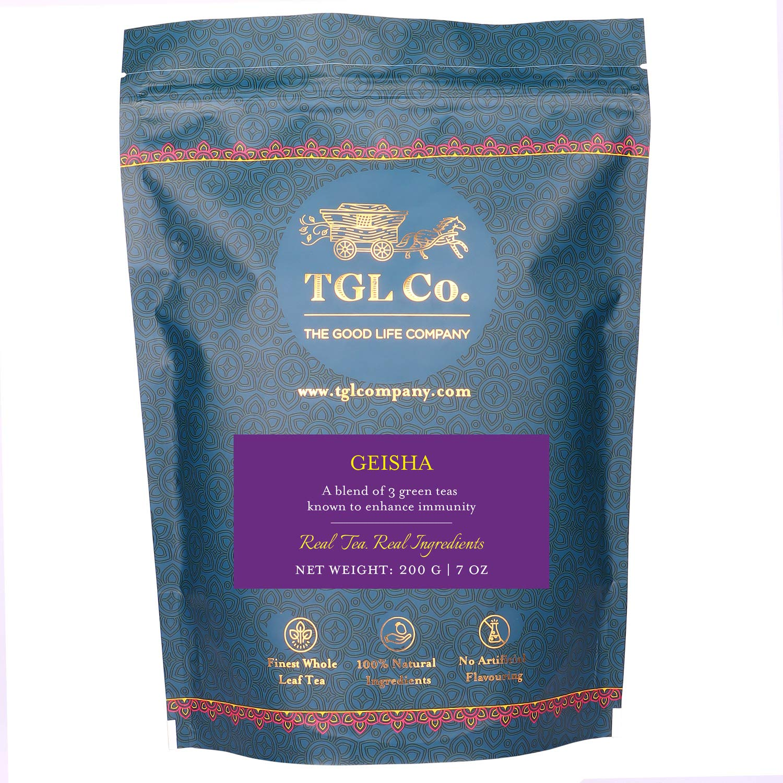 TGL Geisha Green Tea, Immunity Booster Tea Lowers Cholestrol - 7 oz (Makes 100 Cups) with Green Sencha Tea, Green Bancha Tea, Green Kukicha Tea, Sesame, Schizandra Berries, Ginger, Roses
