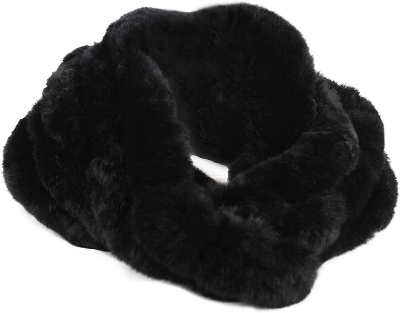 Fur Story Women Real Fur Infinity Scarf Real Rex Rabbit Fur Warm Shawl Scarves