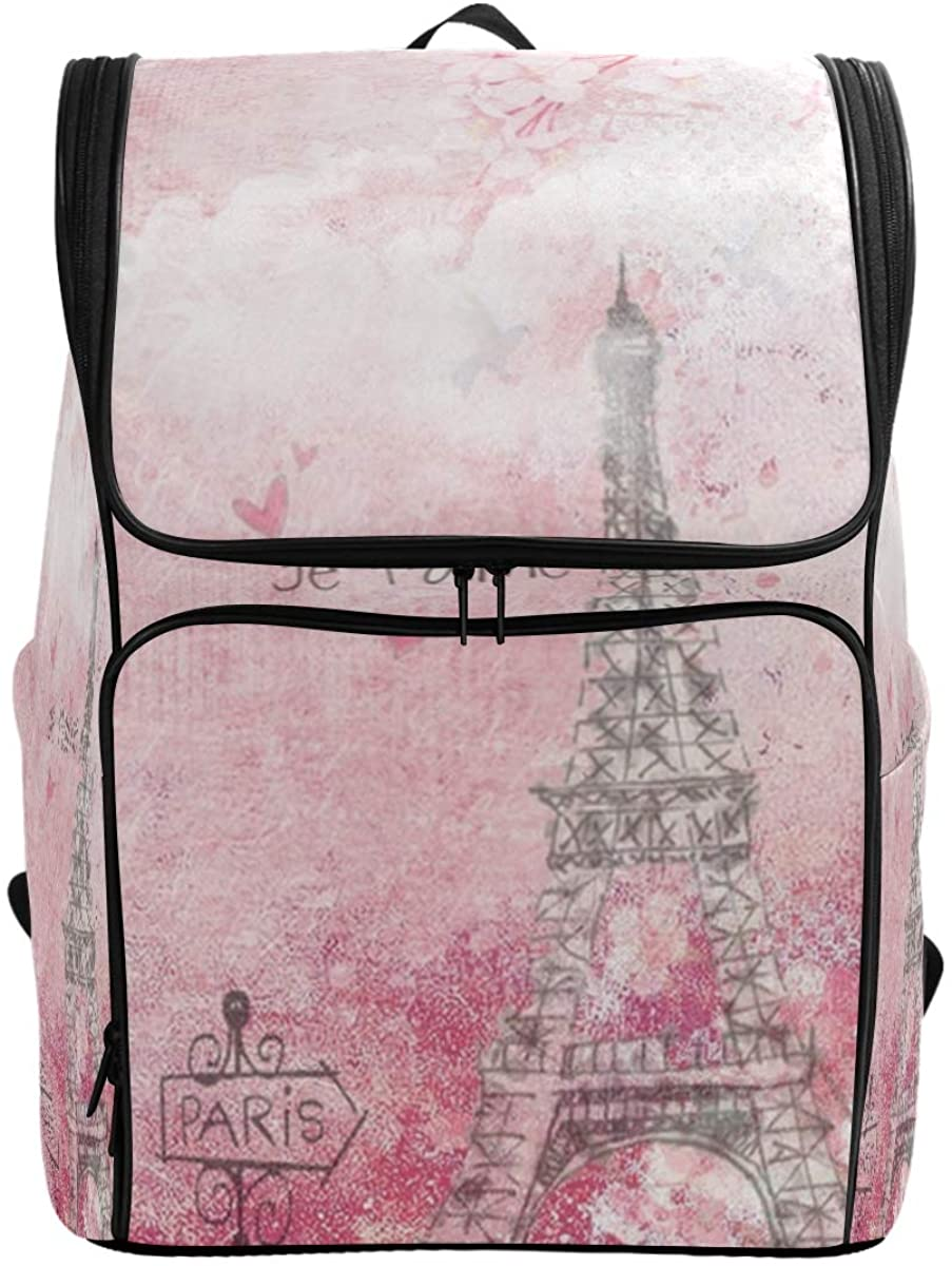 Kaariok Pink French France Paris Scenery Eiffel Tower Post Stamps Fantasy Backpack Bookbags College Laptop Daypack Travel School Hiking Bag for Womens Mens
