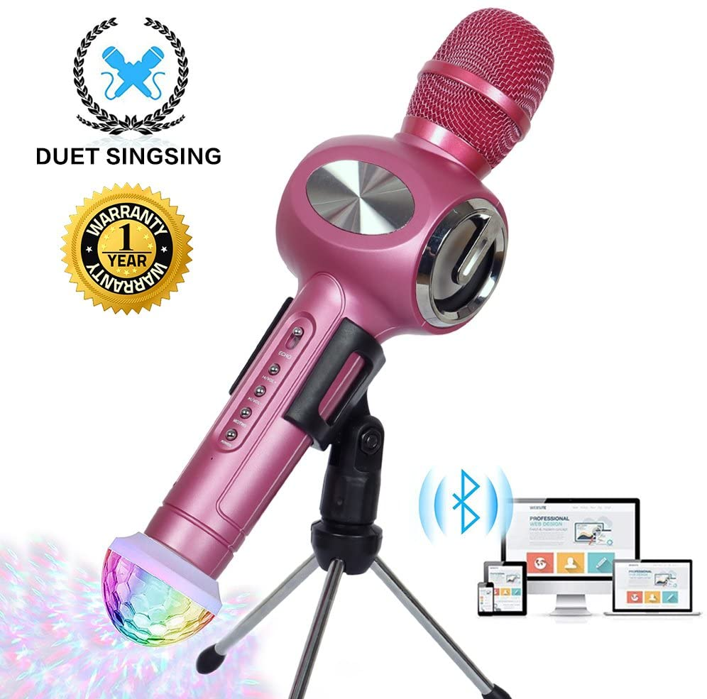 Karaoke Microphone Wireless Bluetooth Microphone for Kids Family Friends Duet Singing Portable Wireless Karaoke Recording KTV Party Gifts Light Holder Mic Machine for iPhone Android iPad PC (Rose Red)