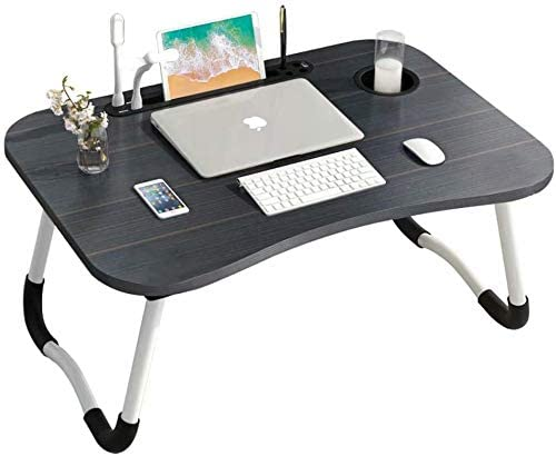 Vkissdress Laptop Bed Table Tray Portable Collapsible Lap Desk Stand with Eye-Protection Lamp&Mini Fan for Reading Working on Bed,Sofa or Outdoor Picnic,Black