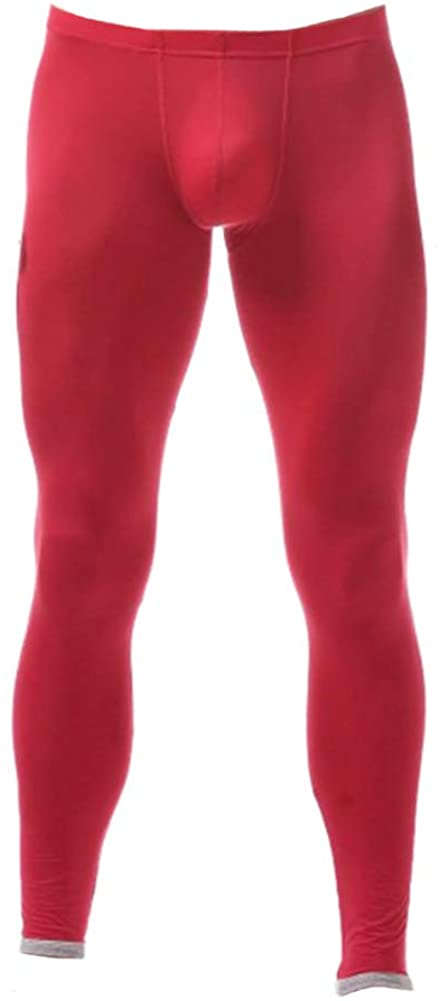 Men's Warm Breathable Seamless Knee Protector Ice Silk Long Underwear Red M