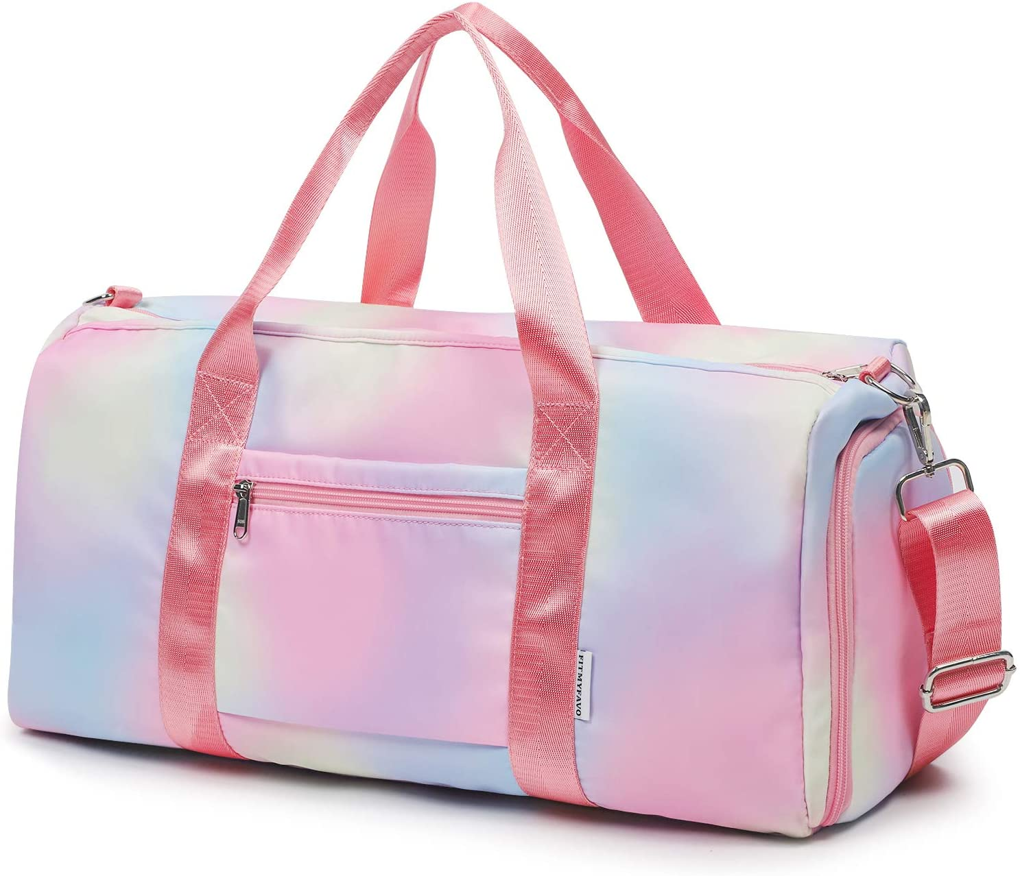Travel Weekender Bag For Women Girls Overnight Bag Waterproof Nylon Travel Duffle Bag with Shoes Compartment, Wet Compartment(Rainbow)