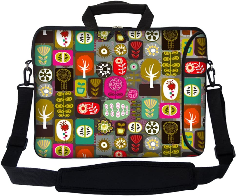 Meffort Inc 17 17.3 inch Neoprene Laptop Bag Sleeve with Extra Side Pocket, Soft Carrying Handle & Removable Shoulder Strap for 16 to 17.3 Size Notebook Computer - Colorful Symbols