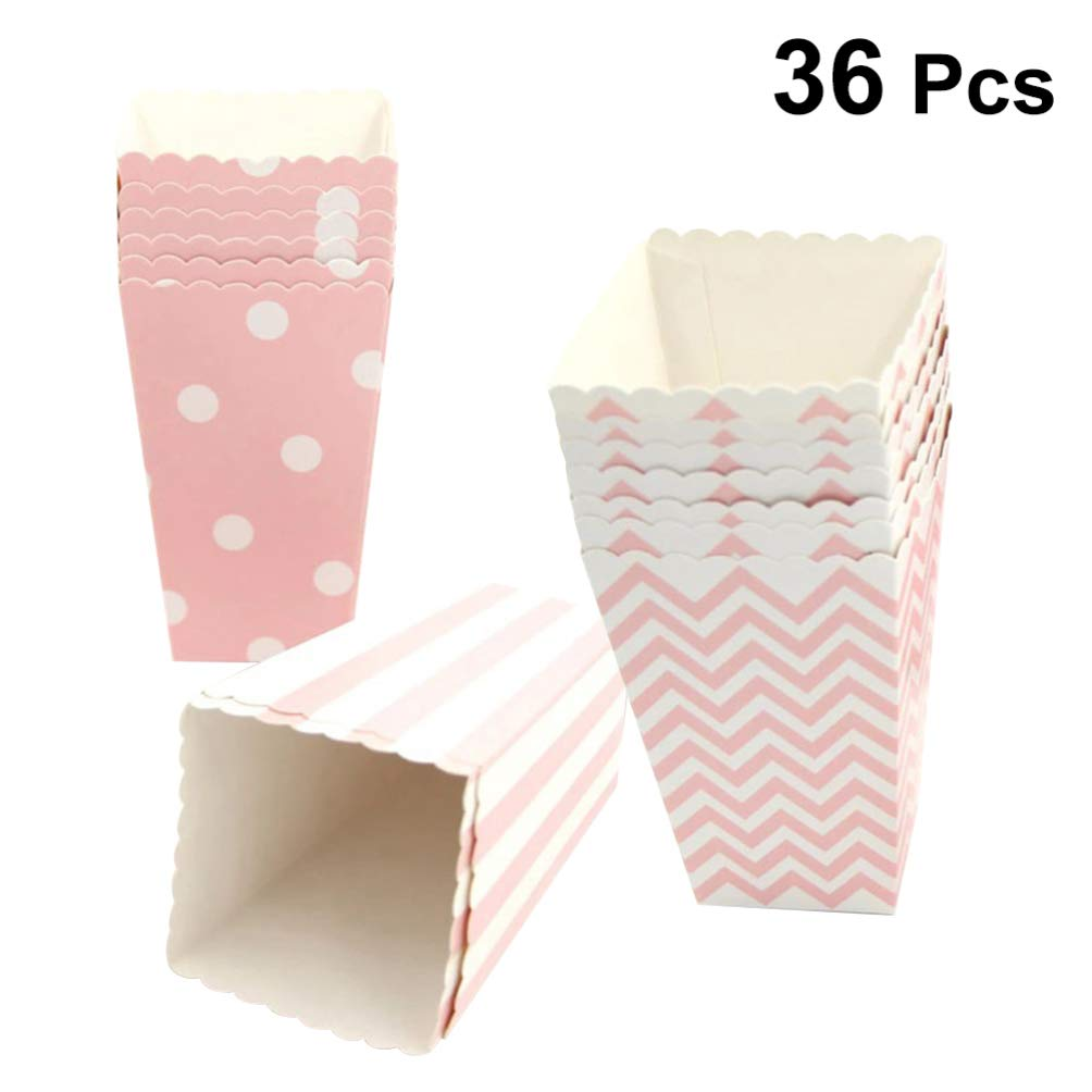 Hemoton Open-Top Popcorn Box, 36pcs Paper Popcorn Favor Boxes, Mini Paper Popcorn Containers, Popcorn Party Supplies for Movie Nights, Carnival Parties, Baby Showers and Bridal Showers - Pink