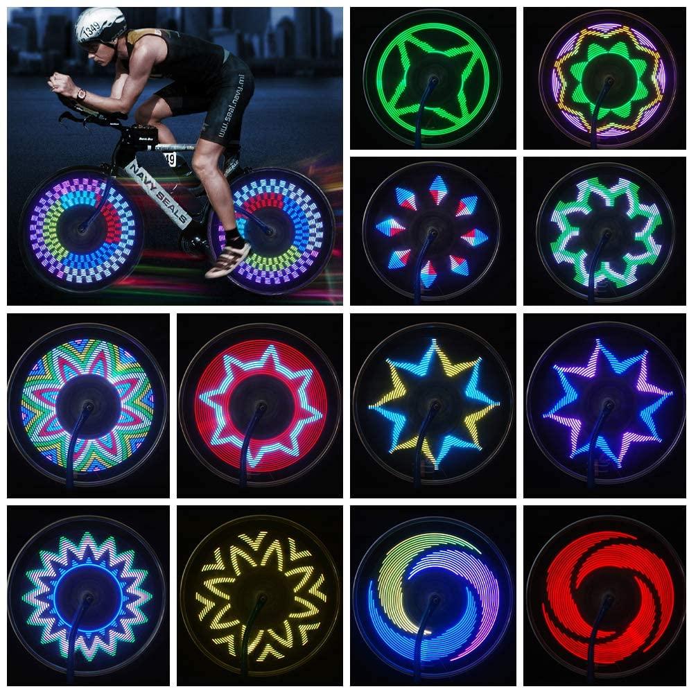 JIAERQI Bike Wheel Lights - 21 PCS Patterns Bicycle Spoke Lights - IPX5 Waterproof Bike Lights for Wheel Safety Bike Accessories for Mountain Bike & Road Bike(Batteries Include)