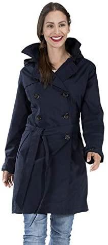 Happy Rainy Days Women's Trench Coat Navy Blue, XX Large