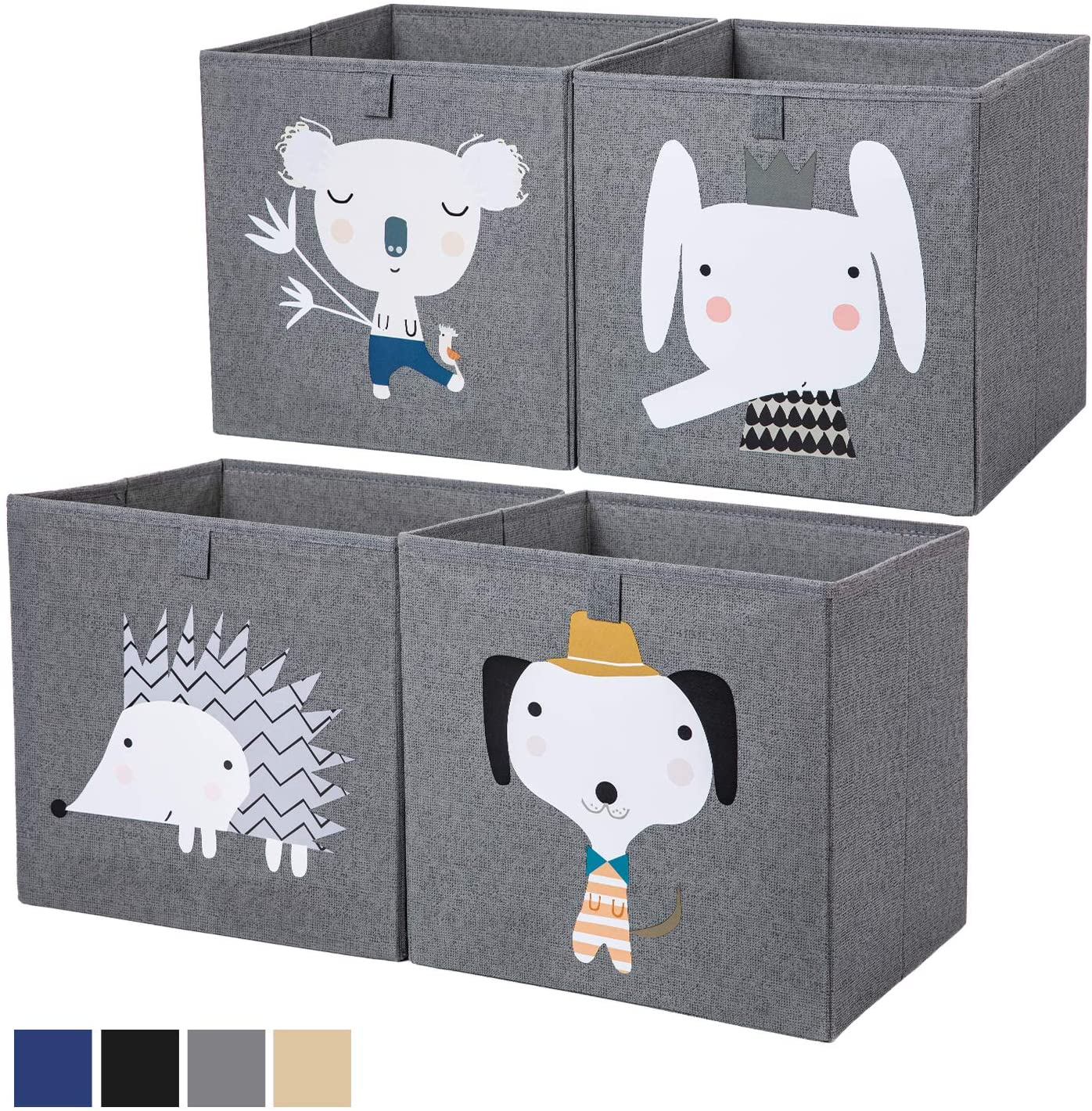 AXHOP Storage Bins Storage Cubes, 13 ×13 Foldable Fabric Storage Containers Organizer for Kids, Toddlers, Office, Closet, Shelf, 4-Pack(Dark Grey Elephant)