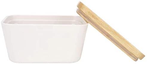 Cedmon Butter Dish With Wood Lid Airtight Rectangular Butter Keeper Container (250ml)