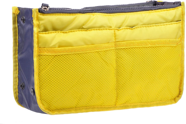 Vercord Purse Organizer Insert for Handbags Bag Organizers Inside Tote Pocketbook Women Nurse Nylon 13 Pockets Yellow Small