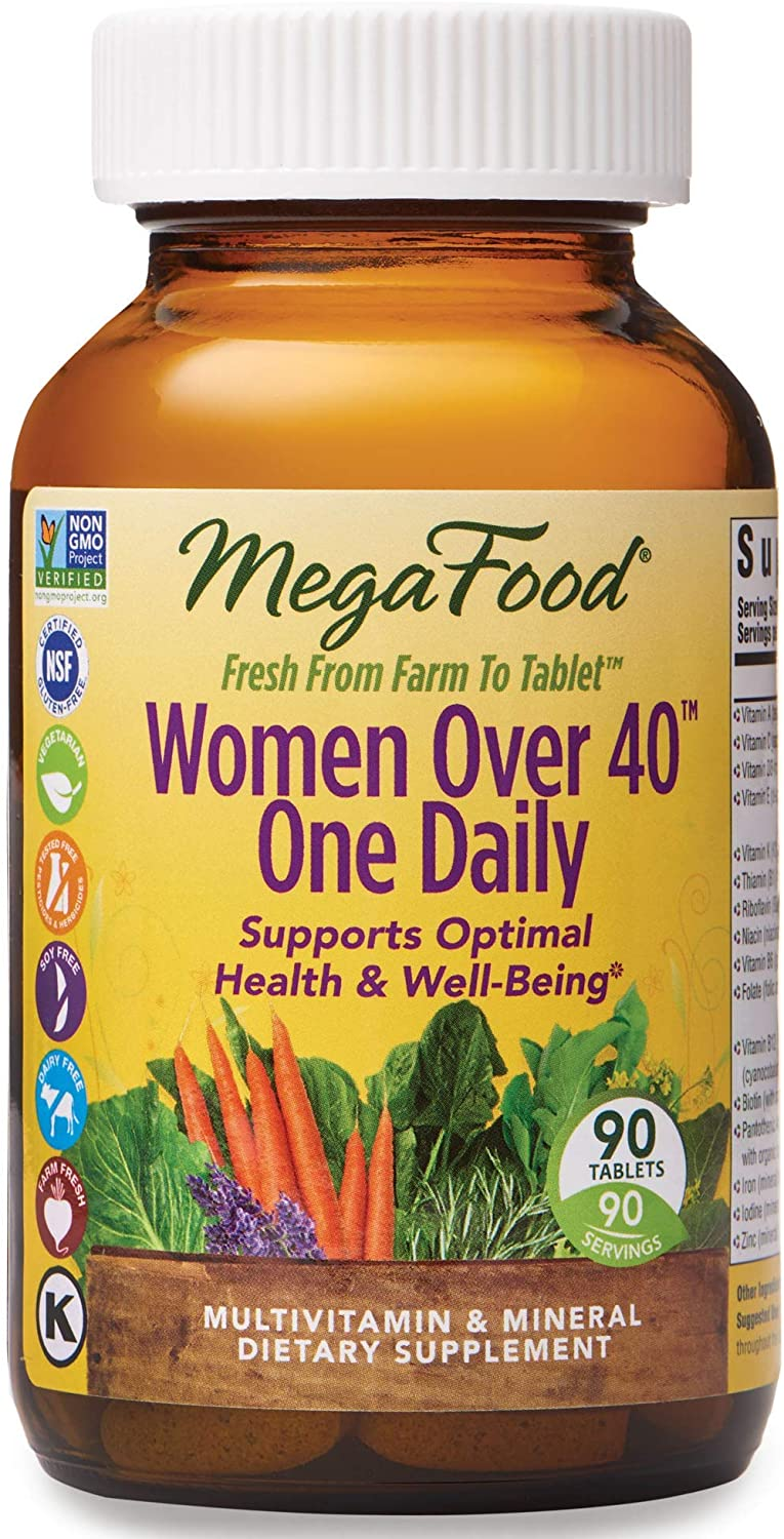 MegaFood, Women Over 40 One Daily, Daily Multivitamin and Mineral Dietary Supplement with Vitamins C, D, Folate, Biotin and Iron, Non-GMO, Vegetarian, 90 tablets (90 servings)