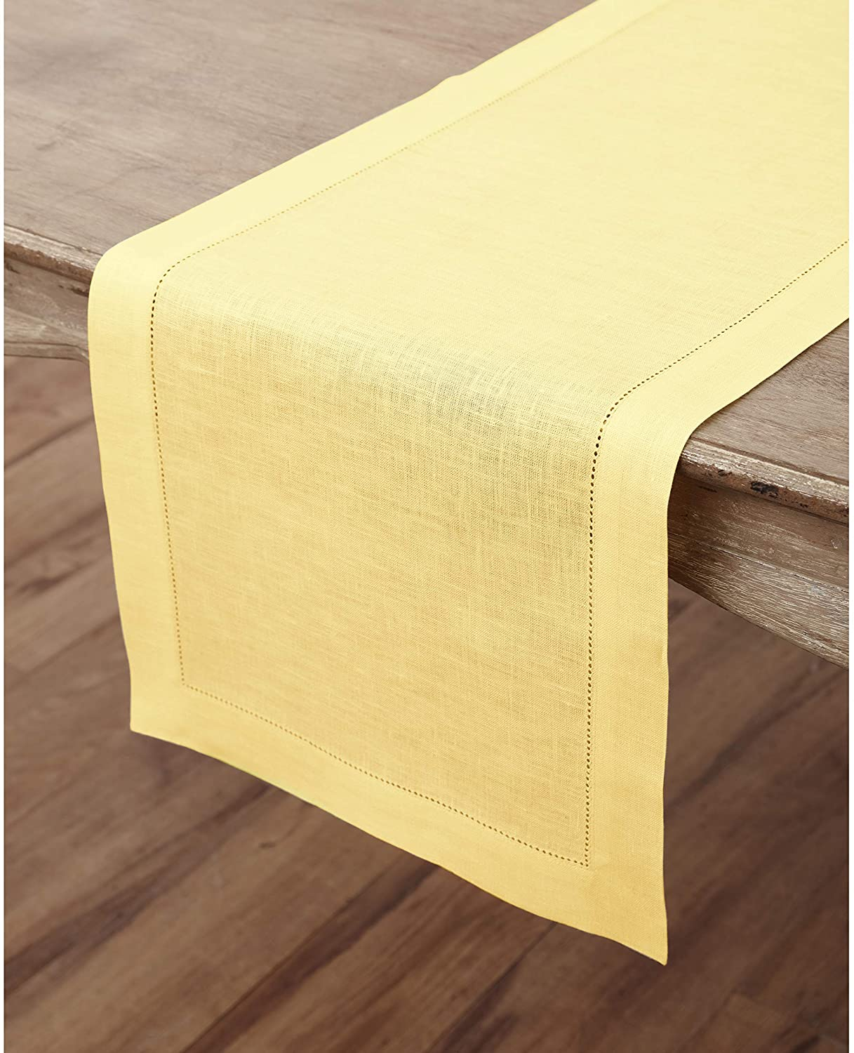 Solino Home 100% Pure Linen Hemstitch Table Runner - 14 x 72 Inch, Handcrafted from European Flax, Machine Washable Classic Hemstitch - Yellow