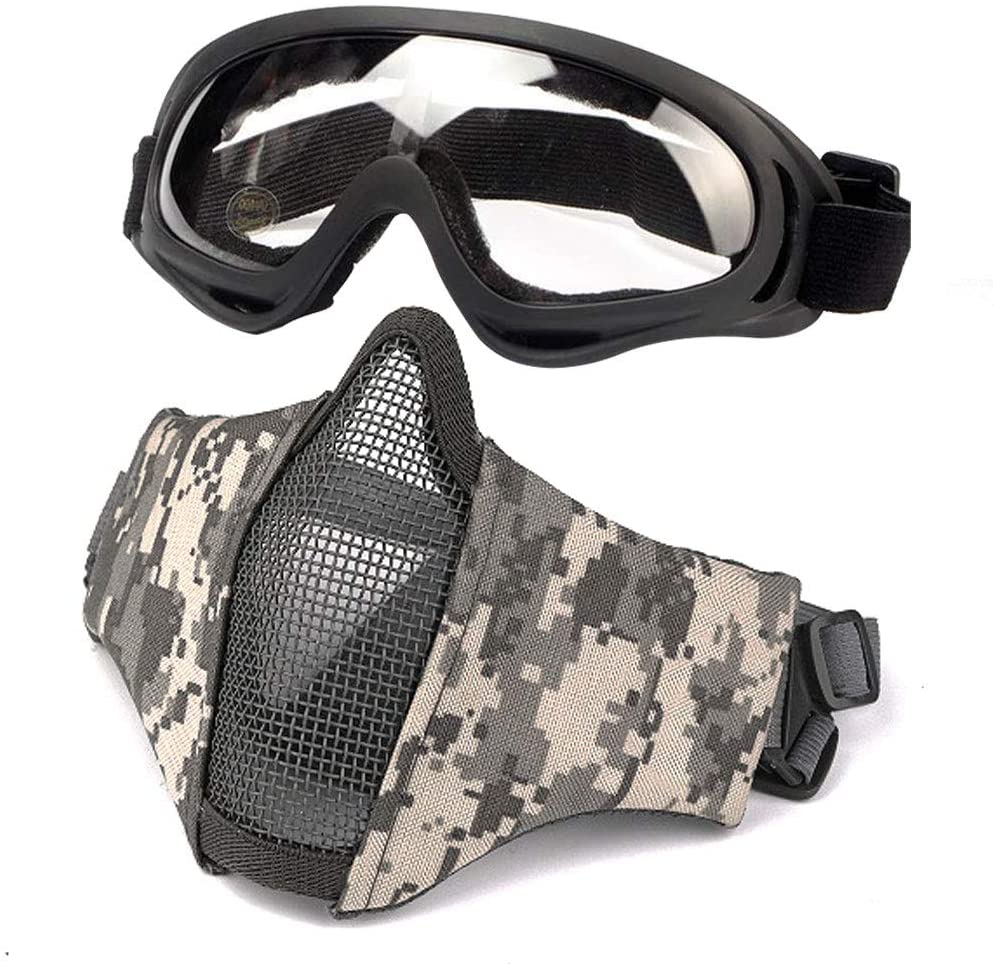 Tactical Airsoft Half Face Mask Foldable Comfortable Lower Face Tactical Wire Steel Metal Net Mesh Protective Mask and Goggles Set for with Outdoor Airsoft BK, BB Gun, Hunting, CS Paintball