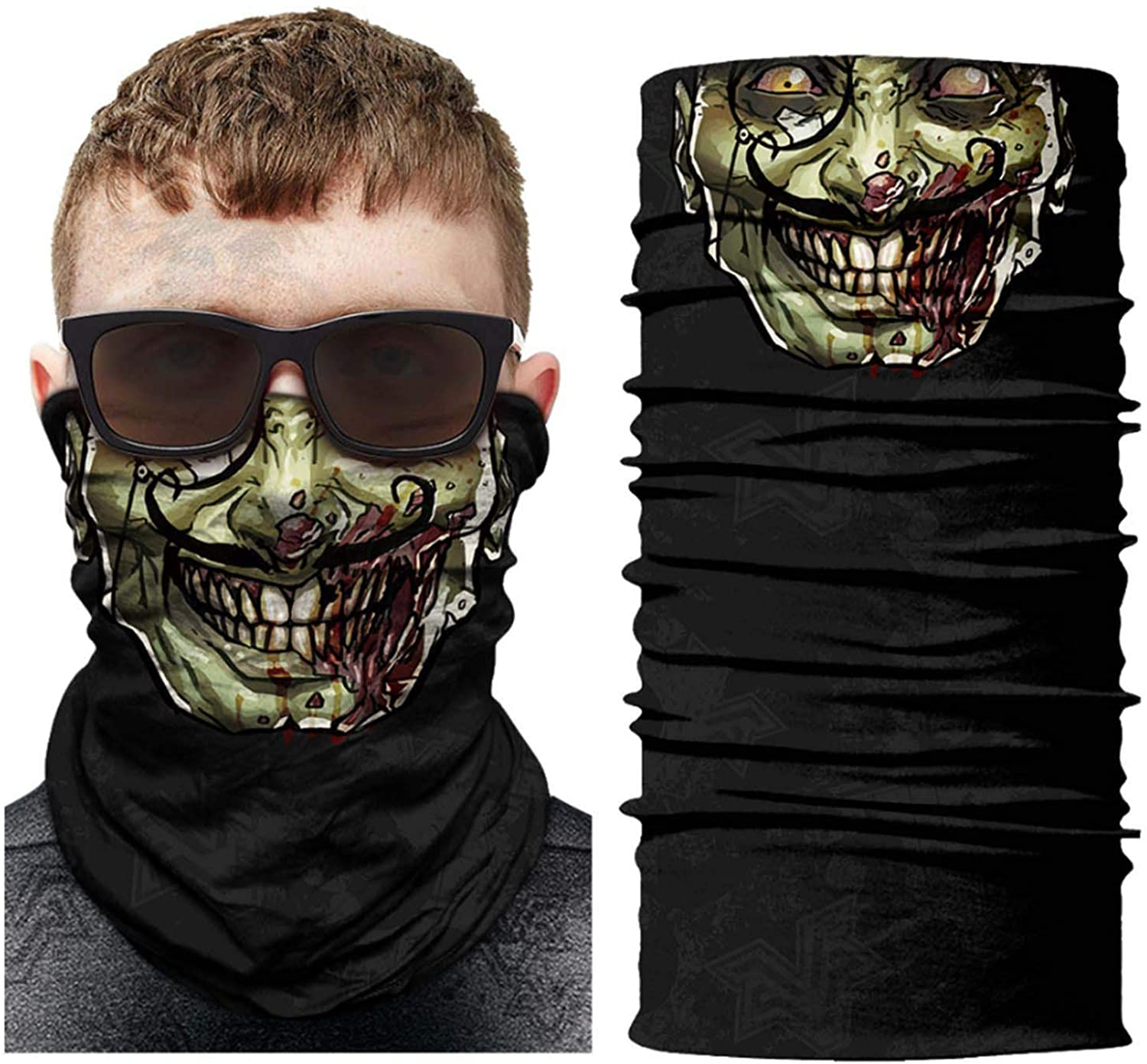 Motorcycle Face Bandana Sun UV Dust Wind Protection Durable Tube Bandana Seamless Skeleton Face Bandana for Men Women