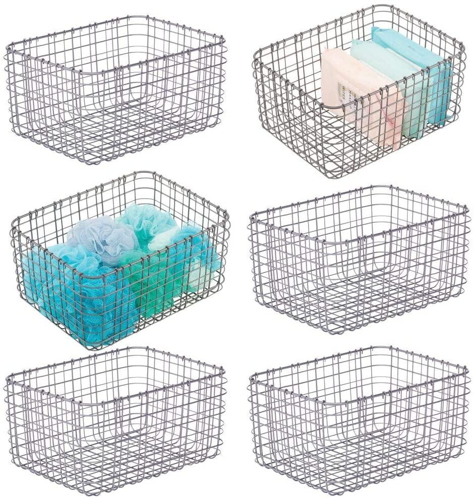 mDesign Farmhouse Metal Bathroom Storage Organizer Bin Basket for Vanity, Towels, Cabinets, Shelves - Holds Sponges, Make-Up, Shampoo, Conditioner, Cosmetics, Hand Towels, 12
