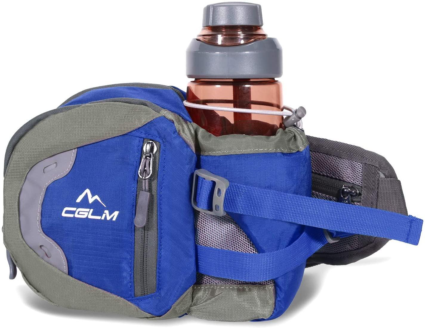 Fanny Pack Waist Bag for Men Women Water Bottle Holder Adjustable Belt for Hiking Travel Outdoor Walking Running Carry iPhone Money Blue