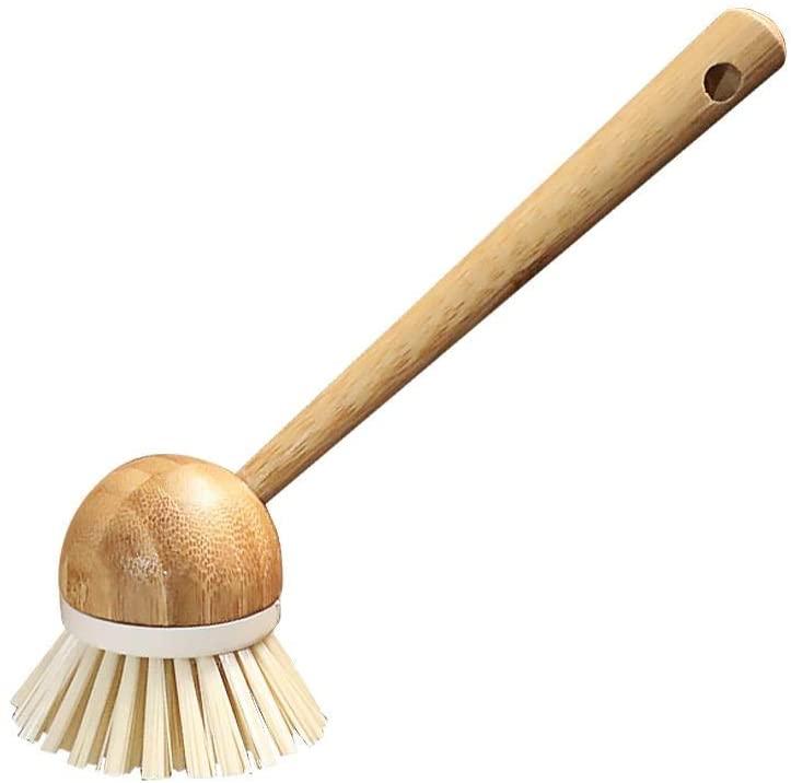 Dishwashing Brush Bamboo Handle Soft Bristle For Pot Pan Scrubber