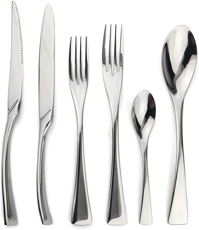 JANKNG 18/10 Stainless Steel Flatware Set, Serrated Steak Knife, Mirror Polishing Silver, Service for 4