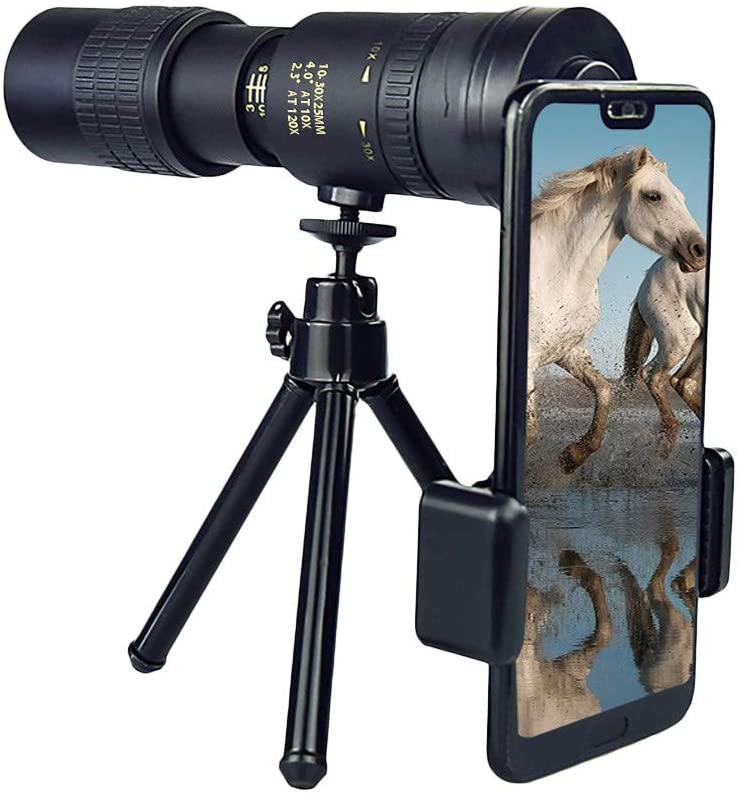 IRRIT 4K 10-30X25mm Super Telephoto Zoom Anti-Shake Monocular Telescope, Night Vision Waterproof Portable Telescope with 3D Gyroscope Tripod Phone Clip for Camping (A -with Tripod)