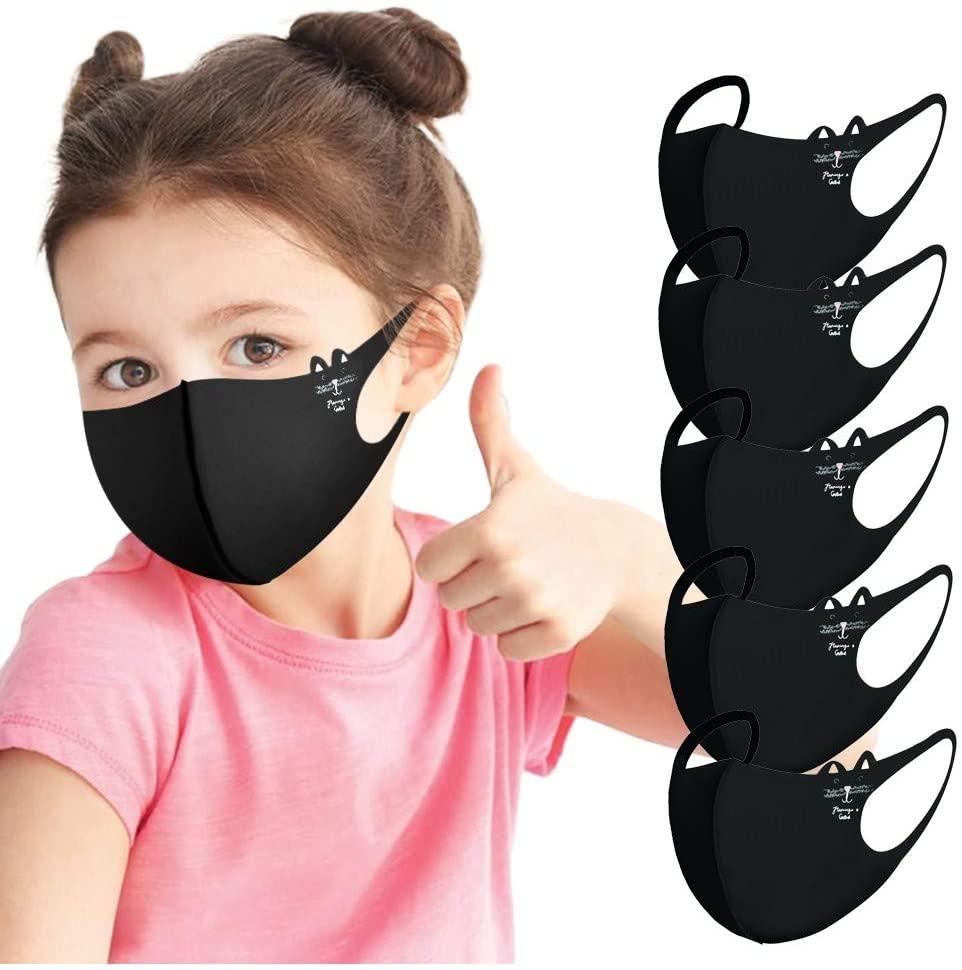 5PC Kids Reusable Protective Face ᴍᴀsᴋ   Ice Silk Fabric   Elastic Loop   Cute Cartoon Cat Print Pattern   Washable, Breathable and Anti-Haze Dustproof ᴍᴀsᴋs,for Children (Black)