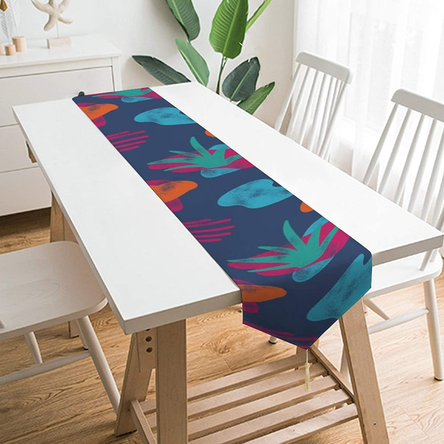 QSMX Abstract Coconut Tree Table Runners,Easy to Clean Non-Slip Heat Resistant Modern Farmhouse Table Runner for Family Dinner Halloween Thanksgiving Christmas Party