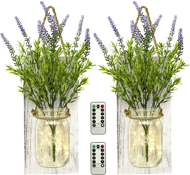 TenXVI Designs Remote Controlled Hanging Mason Jar Sconces - 2 Sets - Flowers, LED Fairy Lights – Shabby Chic Wall Decor, Rustic Farmhouse Wall Decor and Mason Jar Wall Decor (Lavender)