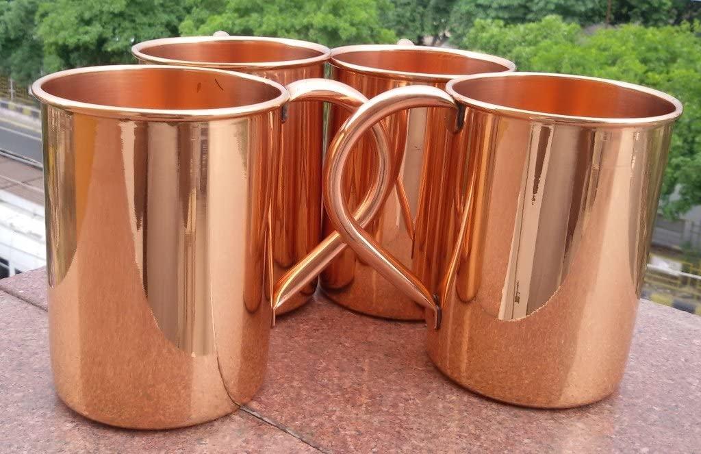 24oz-straight Solid Copper Plain Moscow Mule Mug, Handmade Pure Copper Moscow Mule Mug Set Of-4