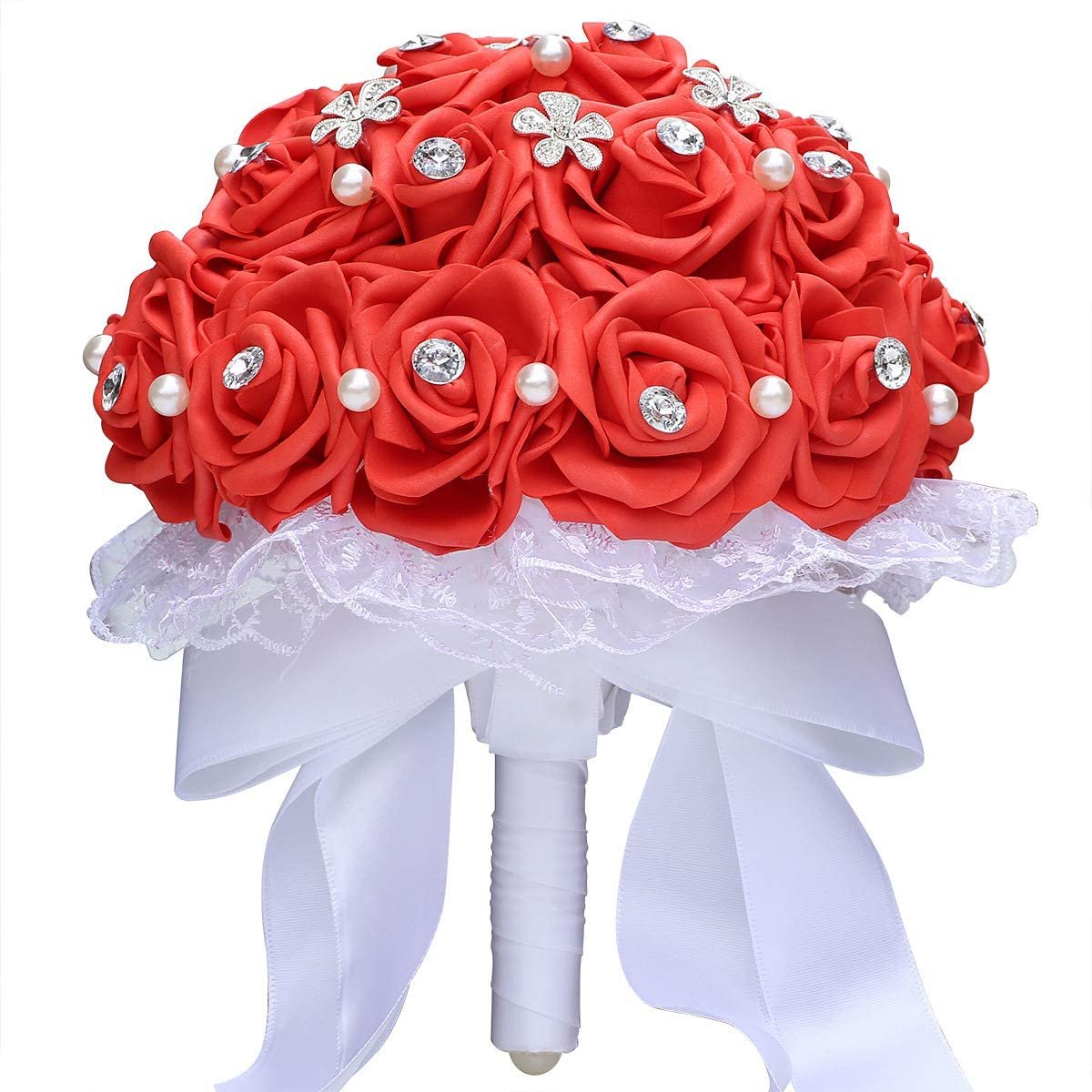 GoldenPlayer Bridal Bouquet for Brides or Bridesmaids Wedding Hand Bouquet Artificial Fake Flowers (Color red)