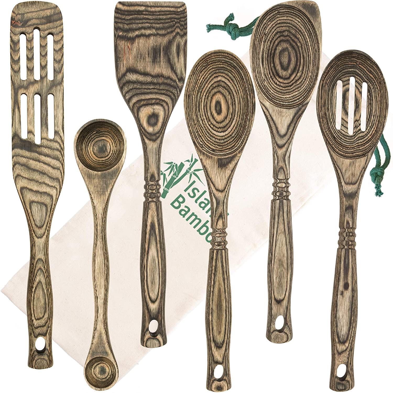 "Island Bamboo Pakkawood 6-Piece Utensil Set with Gift Bag - Elegant Kitchen Spoon, Slotted Spoon, Corner Spoon, Spatula, 13"", 9"