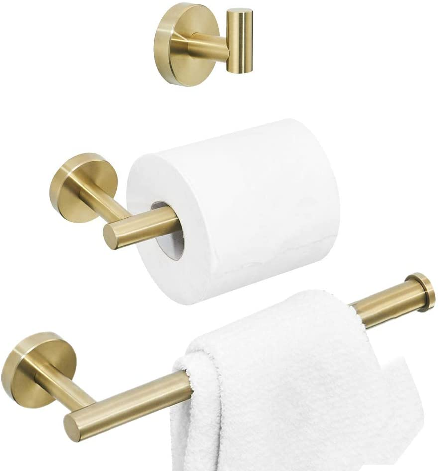 BATHSIR Gold Bathroom Hardware Towel Holder Set 3 Piece Wall Mount Including Toilet Paper Holder Towel Ring and Coat Robe Hook Stainless Steel