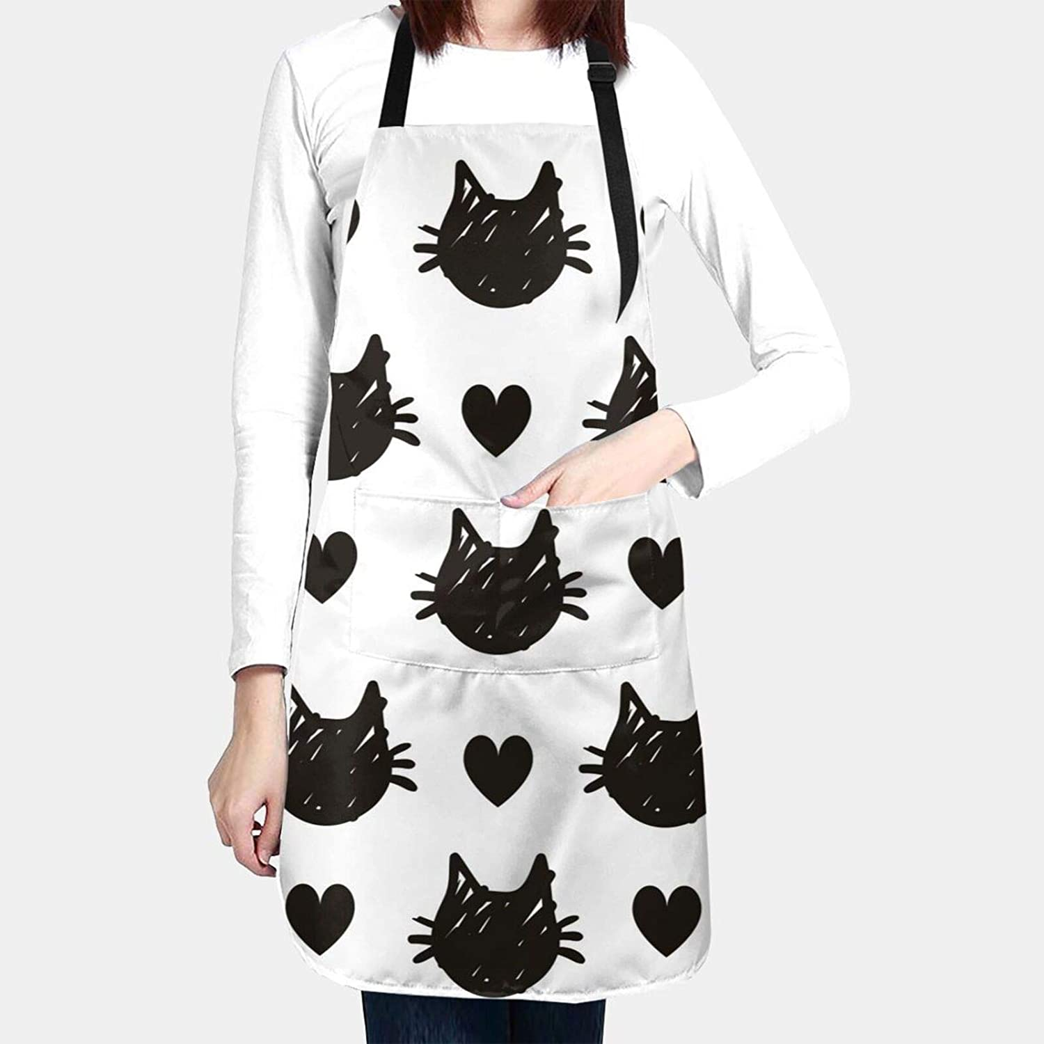 Cute Black Cat Heads Apron Water Proof Baking Apron for Women Men with 2 Front Pockets and Adjustable Neck & Long Ties for Everyday Basic Home Kitchen Artist Crafting Restaurant