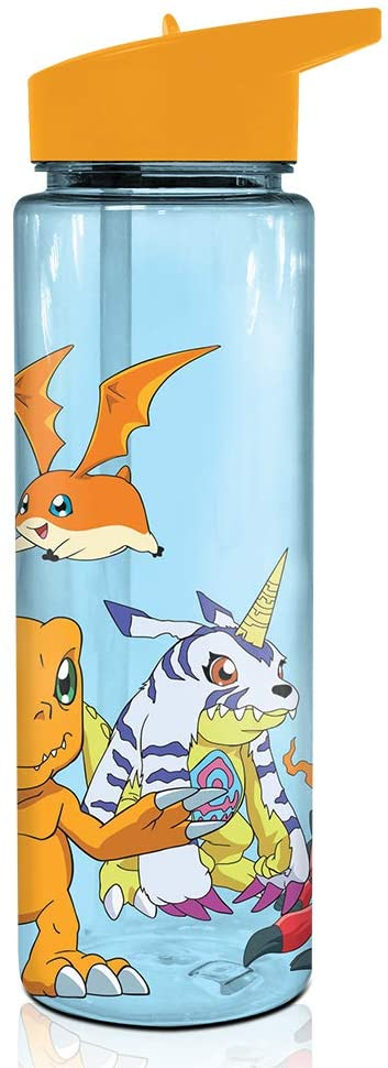 JUST FUNKY Digimon Patamon, Gomamon, Biyomon and Gabumon Water Bottle w/Plastic Tube [Blue 18oz] Hydro Tumbler Flask, Anime Plastic Water Bottle (Officially Licensed)