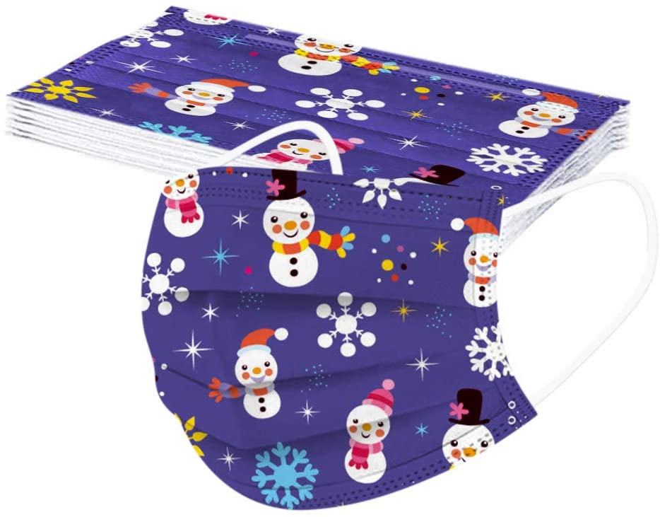【US in Stock】10pcs Children Breathable Face Masks Cartoon Christmas Print Bandana Disposable Face Mask for Kid Student
